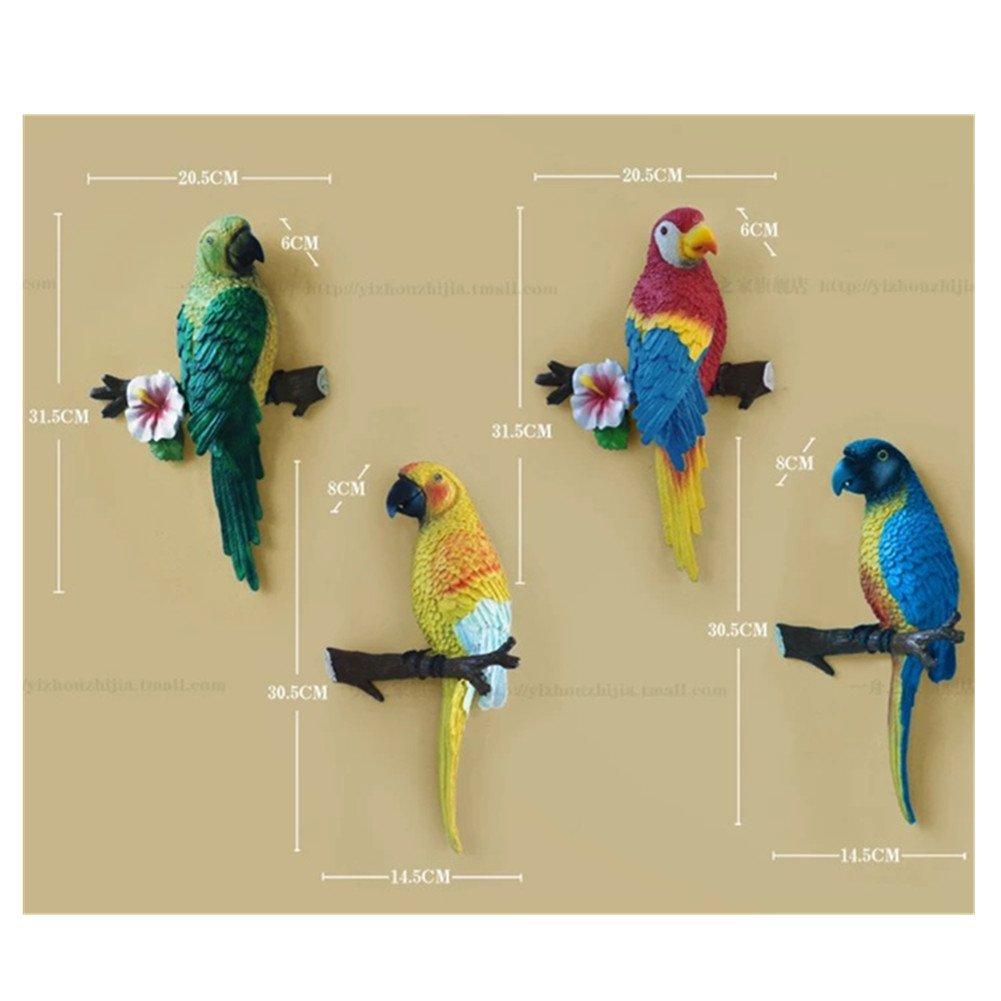 Amazon.com: MTinHD Macaw Tropical Parrot Sculpture Blue Bird Wall ...