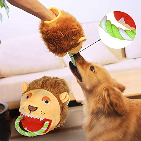 Plush Toy Rope Dog Toy Plush Interactive Training Chew Rope Toys Durable Plush Hand Puppet Glove Funny with Squeaky Puppy Toys Prevents Boredom and Relieves Stress Shark
