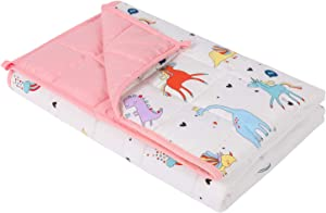 "Keeptop Weighted Blanket 5 lbs, 36"" x 48"" - Cooling Heavy Blanket for Children Between 40-60 lbs, 100% Natural Cotton with Premium Glass Beads - Pink Unicorn"