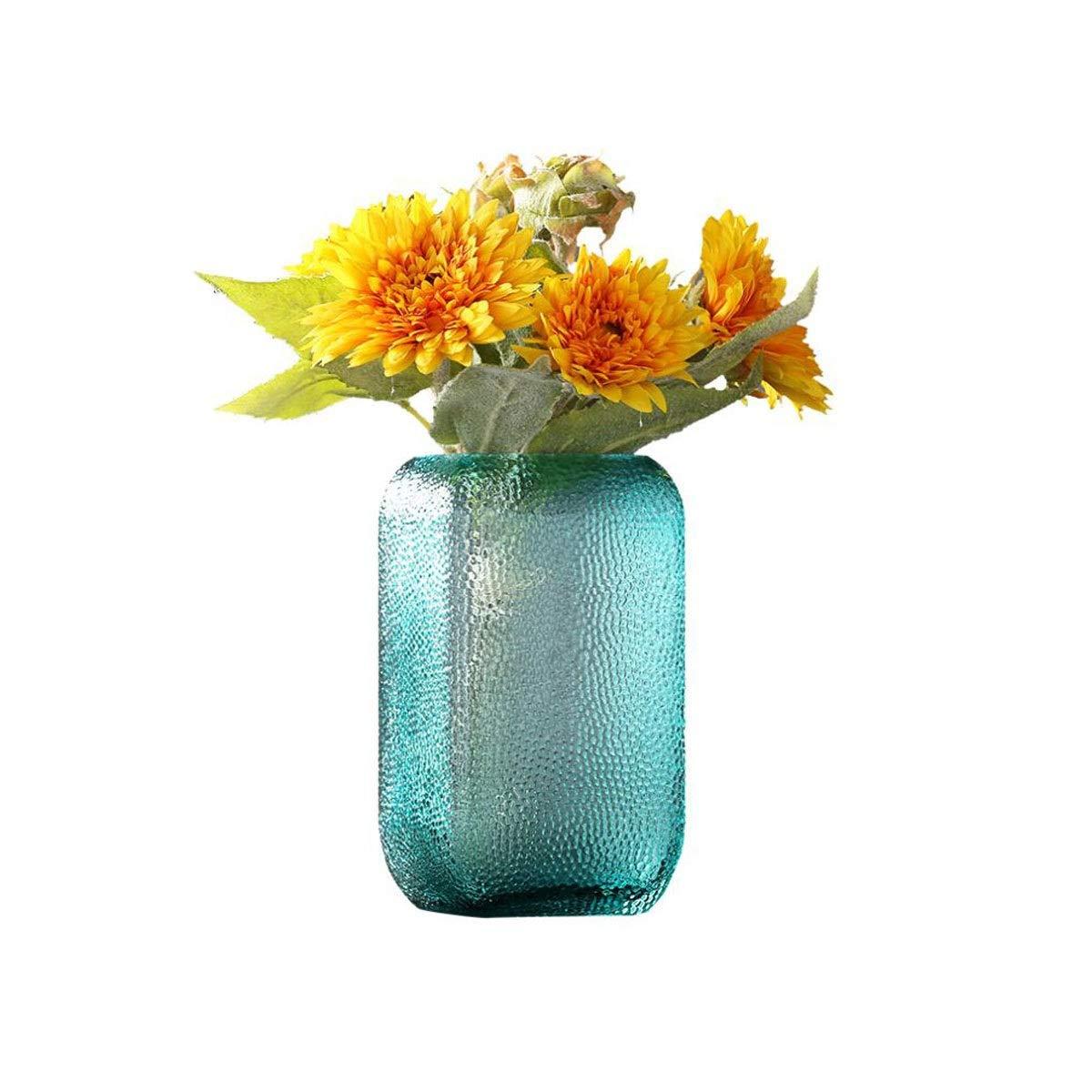 花瓶、シンプルなアメリカの透明ガラス花瓶クリエイティブホームリビングルームダイニングルームテレビキャビネット水耕ガラスフラワーアレンジメント、グレー (Color : Blue, Size : 5*8.5*26cm) B07S8KLBZX Blue 5*8.5*26cm