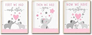 Mirabuy Set of 3 Unframed Pink Elephant Wall Art Posters for Baby Girls Nursery, Baby Shower Gifts