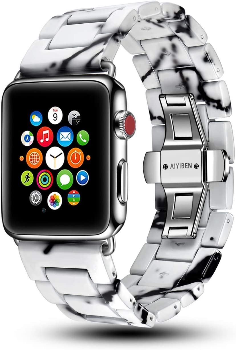 AIYIBEN Marble Watch Band Compatible with iwatch 42mm 38mm Unique Wrist Replacement Bracelet for iwatch Series 5 4 3 2 1 (White, 38mm/40mm)