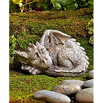 Beautiful Mythical Sleeping Baby Dragon Garden Sculpture Left