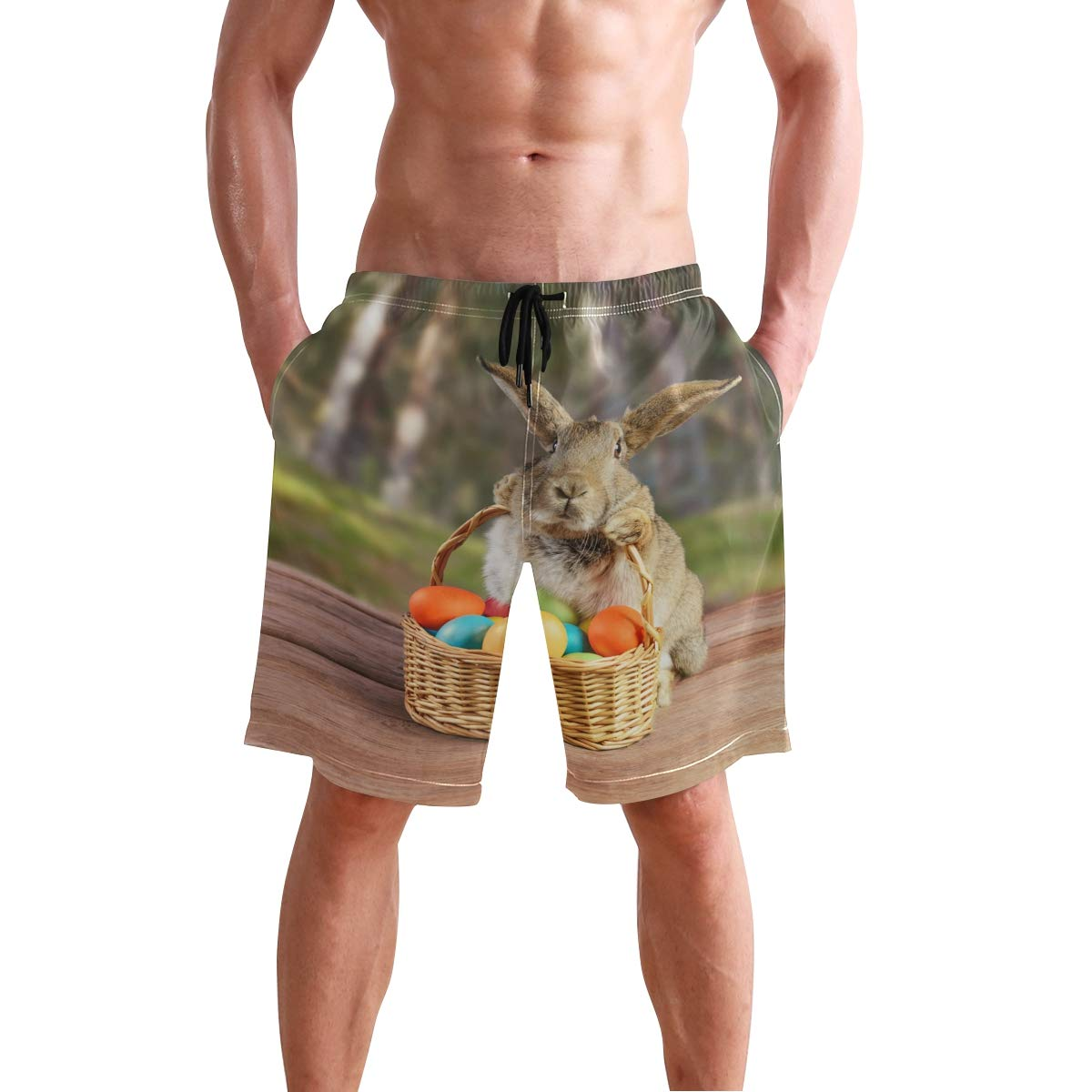 JERECY Mens Swim Trunks Happy Easter Bunny with Colorful Egg Quick Dry Board Shorts with Drawstring and Pockets
