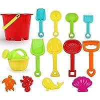 SASKATE Strandverktygsset 14-TLG, sandleksaker, barnskojigt vatten strandverktyg, sandlådsfordon, sandskott…