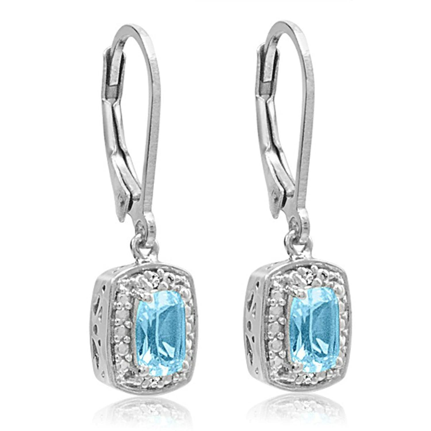 Amazon Sterling Silver Sky Blue Topaz and Diamond Lever Back