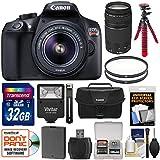Canon EOS Rebel T6 Wi-Fi Digital SLR Camera & 18-55mm IS II + 75-300mm III Lens + 32GB Card + Battery + Case + Filters + Flex Tripod + Flash Kit