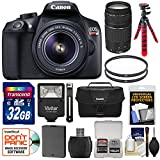 Canon EOS Rebel T6 Wi-Fi Digital SLR Camera & 18-55mm is II + 75-300mm III Lens + 32GB Card + Battery + Case + Filters + Flex Tripod + Flash Kit