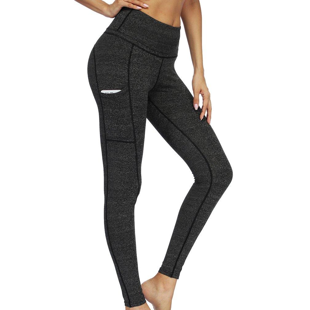 04 Dark Grey Tesuwel Women Yoga Pants with Pockets High Waist Tummy Control Running Workout Pants Leggings