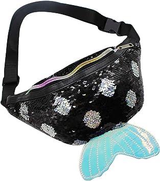 Portable Girls Women Fanny Sequins Shoulder Chest Pack Waist Bag Adjustable Belt