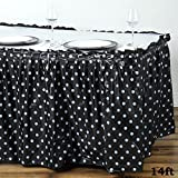 Tableclothsfactory 5 Pcs 14ft Perky Polka Dots Disposable Plastic Table Skirt - Black / White