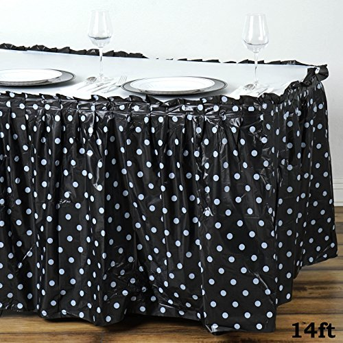 (Tableclothsfactory 5 Pcs 14ft Perky Polka Dots Disposable Plastic Table Skirt - Black/White)