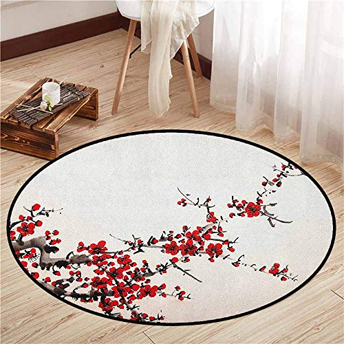 - Non-Slip Round Rugs,Art,Cherry Blossom Sakura Tree Branches Ink Paint Stylized Japanese Artful Pattern,Children Bedroom Rugs,2'7