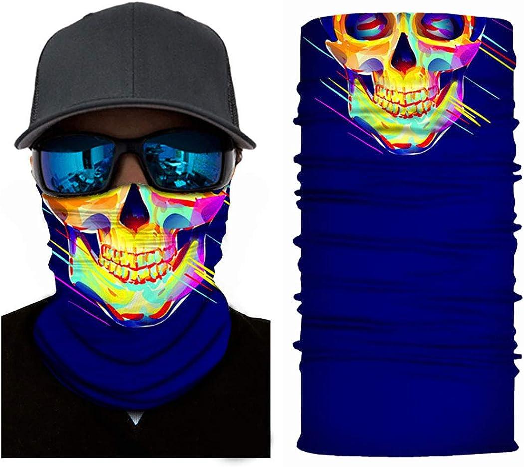 Edary Skull Print Face Bandanas Seamless Microfiber Face Neck Shields Shark Print Headwear Outdoor Neck Headwear Face Scarf for Women and Men