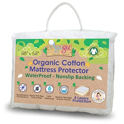 100% Organic Cotton Crib Mattress Protector Breathable Pad Fitted Infant / Crib Mattress Toddler Cover .Designed By A Mom.