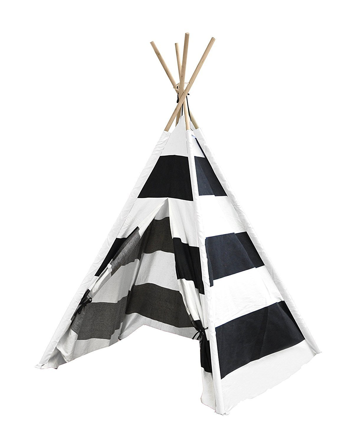 Porpora Indoor Indian Playhouse Toy Teepee Play Tent for Kids Toddlers Canvas with Carry Case, Black Stripe BlackThickStripeTeepeeP