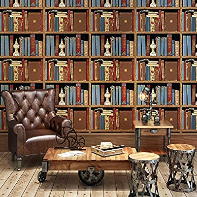 "Birwall 8B045 Vintage Bookshelf Wallpaper Wallcoverings Wall Mural, 20.8"" x 393.7"",Blue/Red/Tan/Yellow"