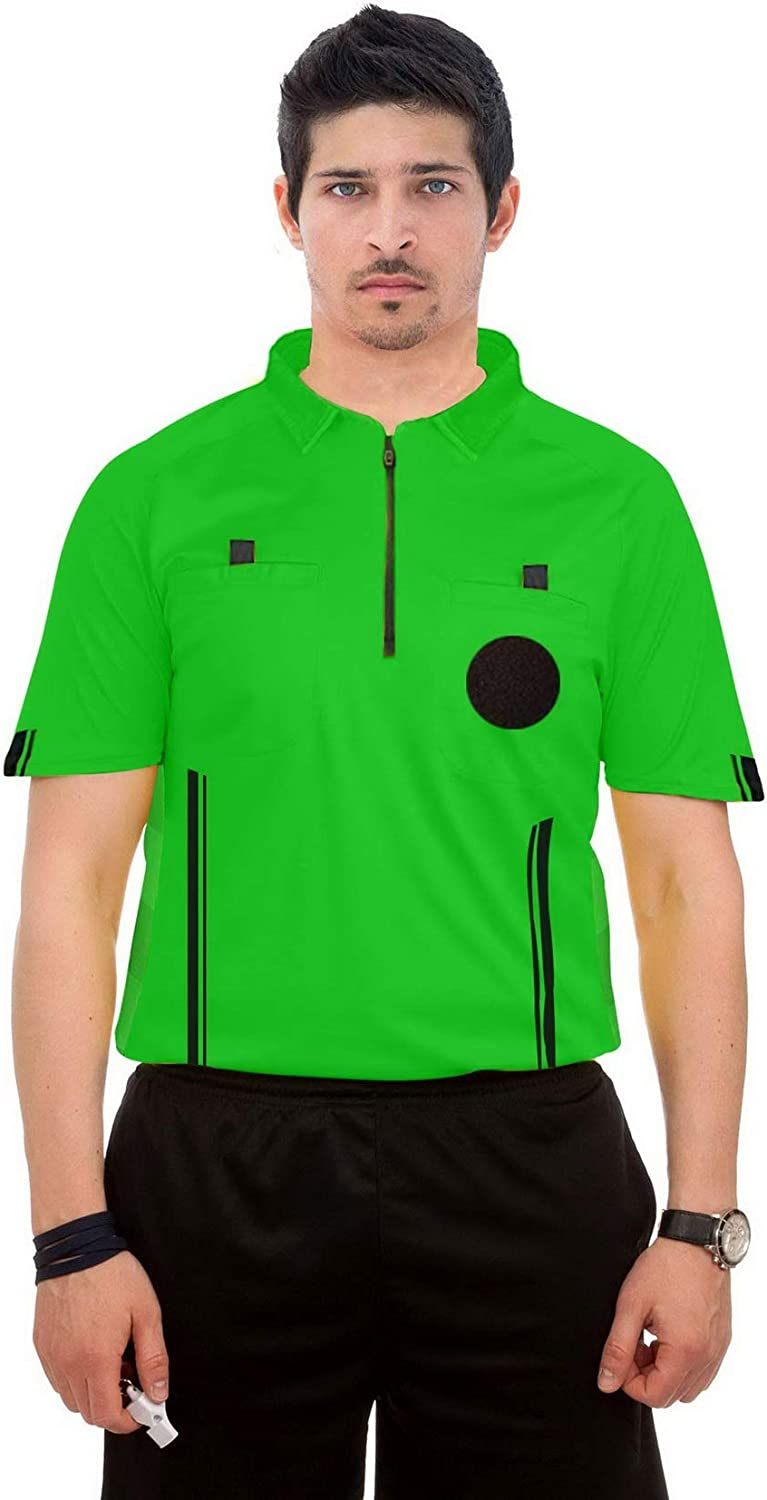 ChinFun Sporting Goods Mens Official Referee Short Sleeve Referee Jersey Pro-Style Ref Uniform Great for Basketball Football Soccer Sports Competitions