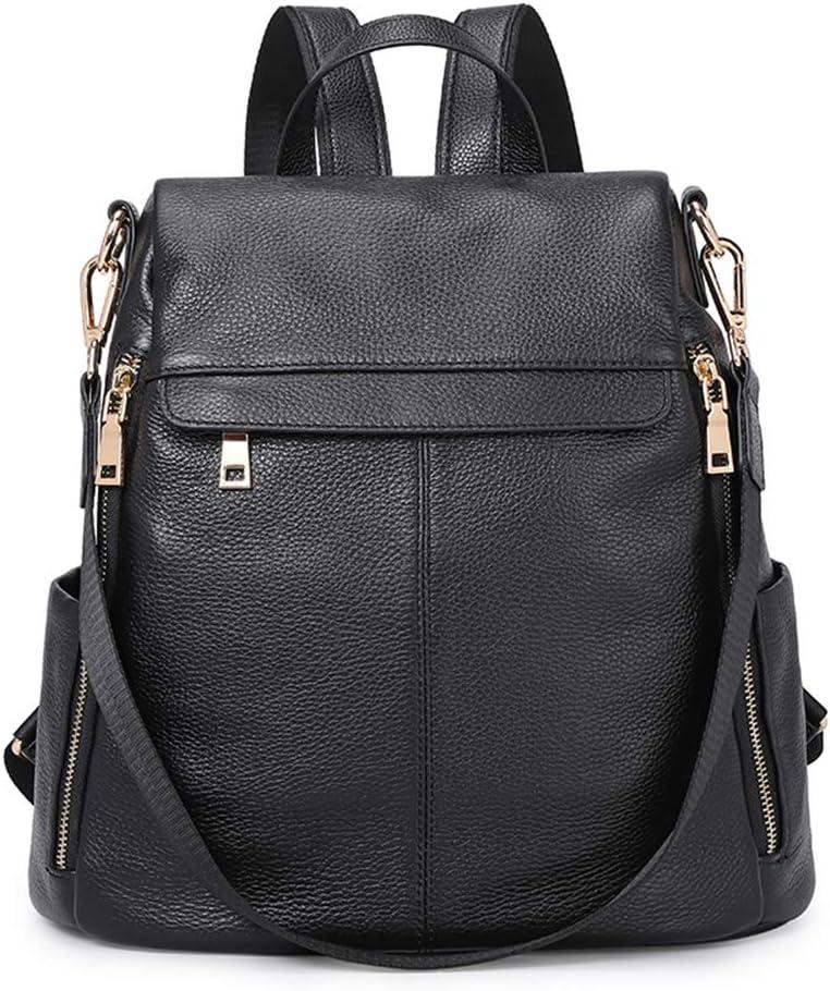 Kattee Women's Anti-Theft Backpack Purse Genuine Leather Shoulder Bag Fashion Ladies Satchel Bags - Black
