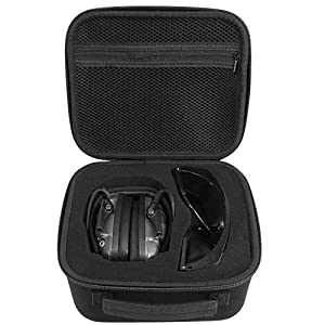 Travel Case Compatible Howard Leight Impact Sport OD Electric Earmuff and Genesis Sharp-Shooter Shooting Glasses, [ Also Fits for Walker's Game Ear Razor Slim Electronic Muff]