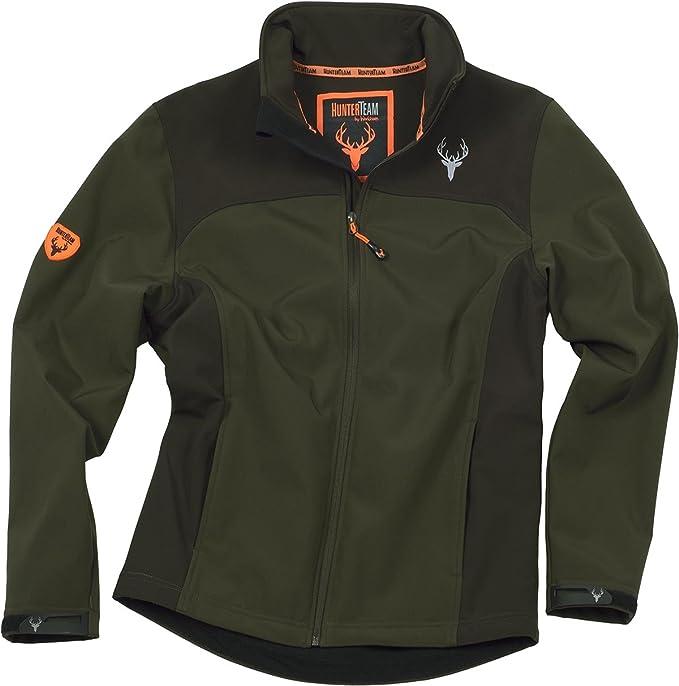 Work Team Cazadora workshell con dos bolsillos laterales, combinada. HOMBRE Verde Caza/Marron