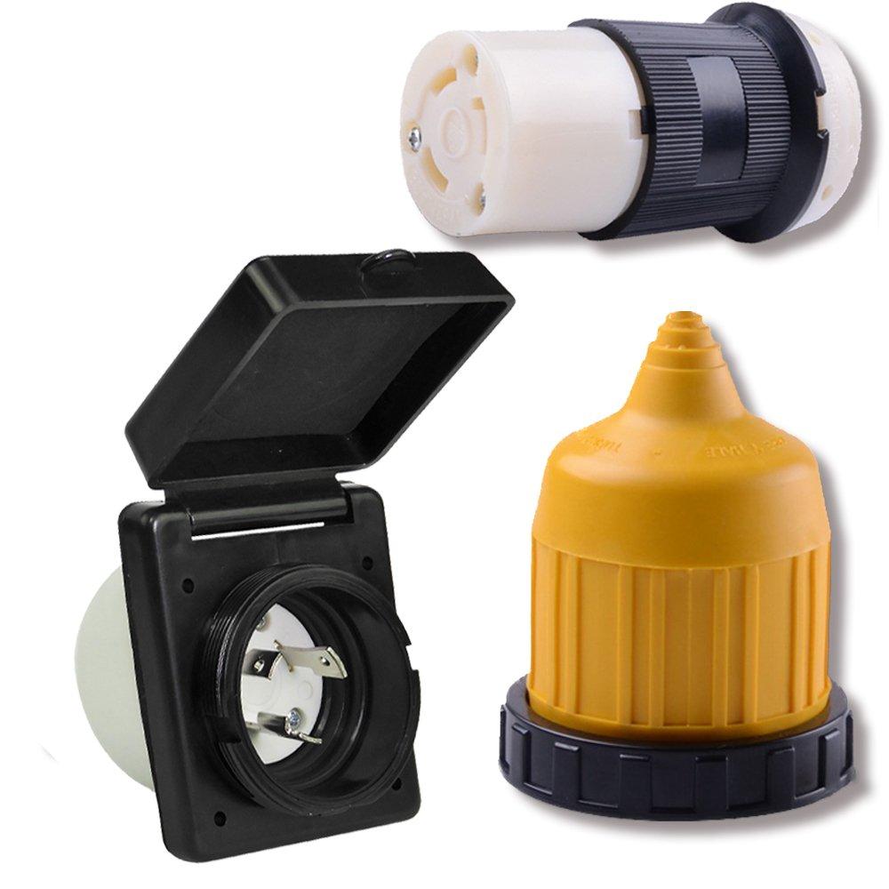 30 AMP RV Trailer Marine Power Cord Power Inlet - Female Twist locking Connector - Weatherproof Boot Kit