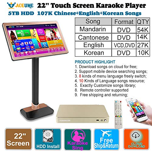 - 5TB HDD 107K Chinese+English+Korean Songs 22'' Touch Screen Karaoke Player/Jukebox,Multi-Language Menu and Fast Search,Select Songs Via Moinitor and Mobile Device,Remote Controller,TSR95