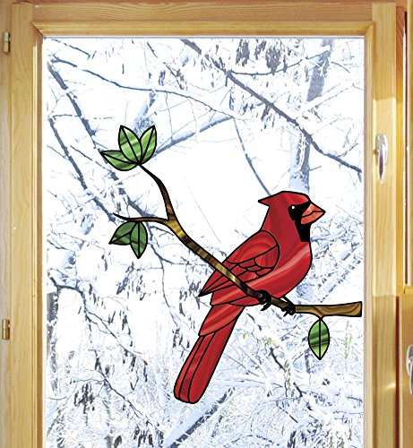 - Bird - Cardinal Perched on Branch - Stained Glass Style See-Through Vinyl Window Decal - Copyright Yadda-Yadda Design Co. (5.75
