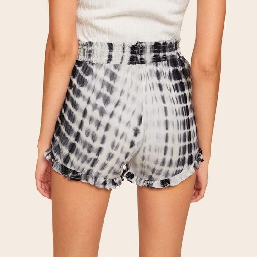 Unastar Womens Floral Printed Tie Dye Leisure Highwaist Oversized Linen Shorts