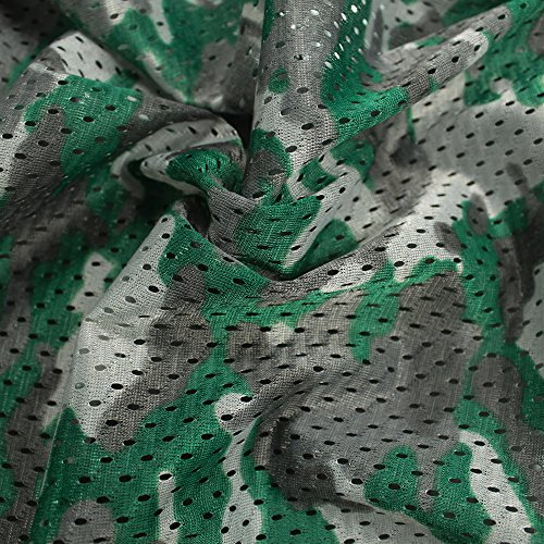 Hunter Green Camouflage Football Mesh Poly Stretch Sports Knit Fabric