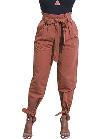 Pantalon Femme Elégante Fashion Taille Haute Pantalon De Loisirs Printemps Eté  Décontracté Large Fille Vêtements Couleur af837040ef13