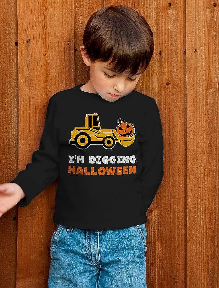 Im Digging Halloween Pumpkin Face Tractor Toddler//Kids Long Sleeve T-Shirt