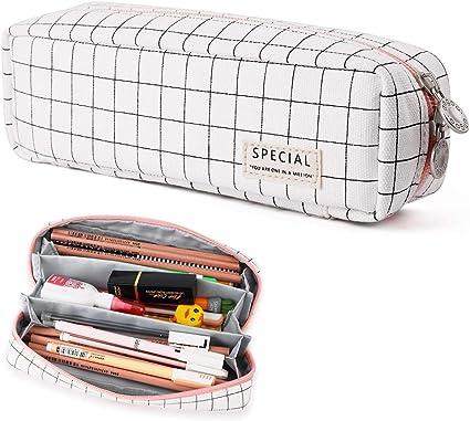 Oyachic Estuche Escolar Pequeña Pencil Case Bolsa para Lapices Pen Phone Stand Holder Estudiante Plumier Colegio Kawaii Box Pencil Case para Estudiante (Rejilla blanco y negro): Amazon.es: Oficina y papelería