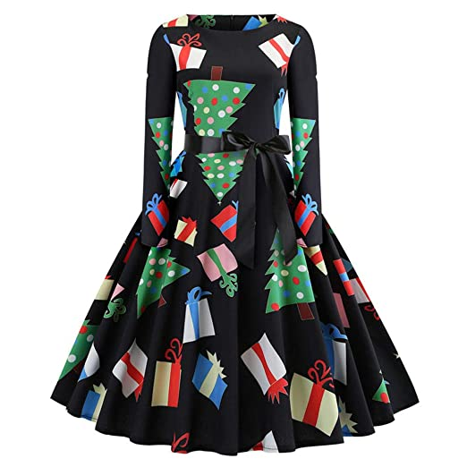 54b8f7e9ad7c Amazon.com  Gyoume Women Christmas Evening Party Swing Dress Women s  Vintage Print Long Sleeve Skirts Dress  Clothing