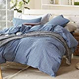 TheFit Paisley Textile Bedding for Adult U628 Blue White Collection Duvet Cover Set 100% Washed Cotton, Twin Queen King Set, 3-4 Pieces (Twin)