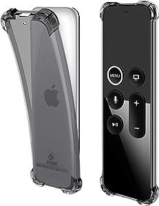pzoz Remote Case Compatible Apple TV 4k 4th Generation Siri Remote Control Shock Proof Silicone Cover Holder for 4th Gen Remote Contorller - Black