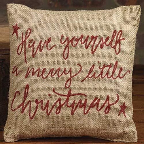 Merry Little Christmas Red Script 8 x 8 Small Burlap Throw Pillow (Primitive Pillows Christmas)