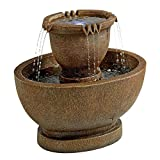 Water Fountain with LED Light - Richardson Oval Water Urn Garden Decor Fountain: Grande - Outdoor Water Feature
