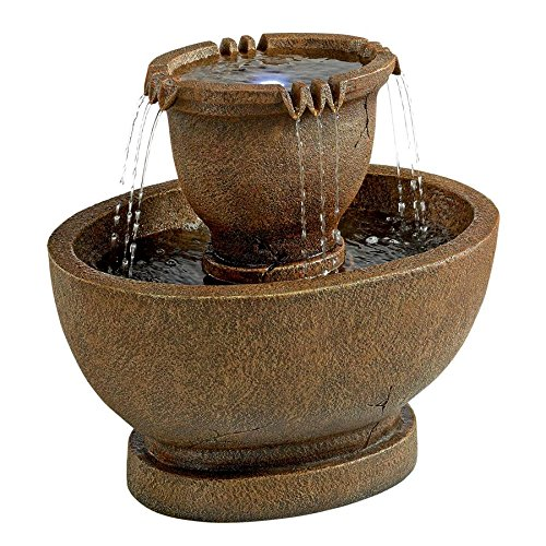 Water Fountain with LED Light - Richardson Oval Water Urn Garden Decor Fountain: Grande - Outdoor Water Feature by Design Toscano