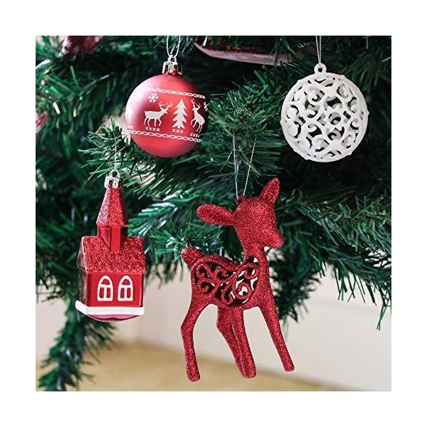 Victor's Workshop Addobbi Natalizi 100 Pezzi di Palline di Natale, Oh Cervo Rosso e Bianco Infrangibile Ornamenti di Palla di Natale Decorazione per la Decorazione Dell'Albero di Natale 5 spesavip