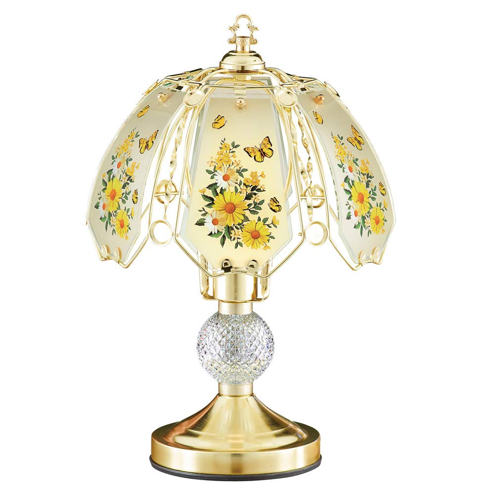 Collections Etc Yellow Daisy Butterfly Gold-Toned Touch Lamp with Gold Base - Decorative Tabletop Light for Any Room in Home