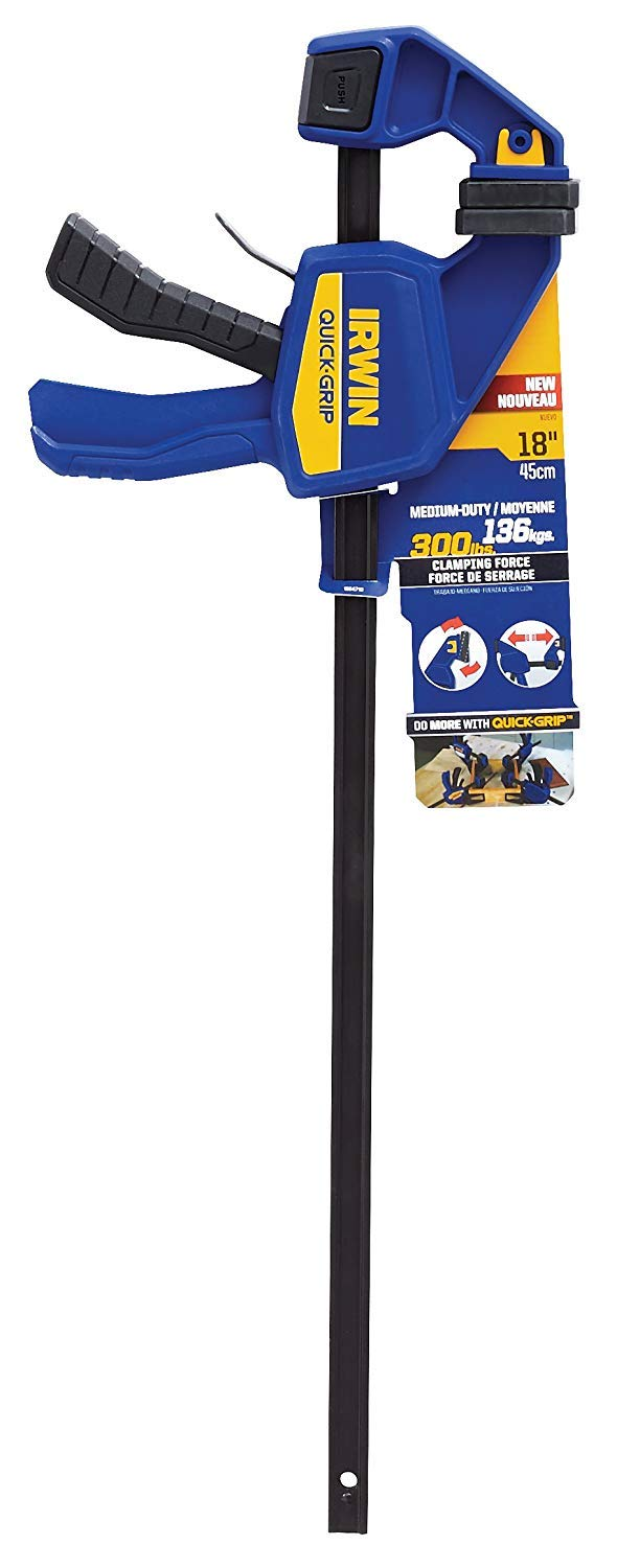 IRWIN QUICK-GRIP One-Handed Bar Clamp, Medium-Duty, 18'', 3 Pack, 1964719 by Irwin Tools (Image #4)
