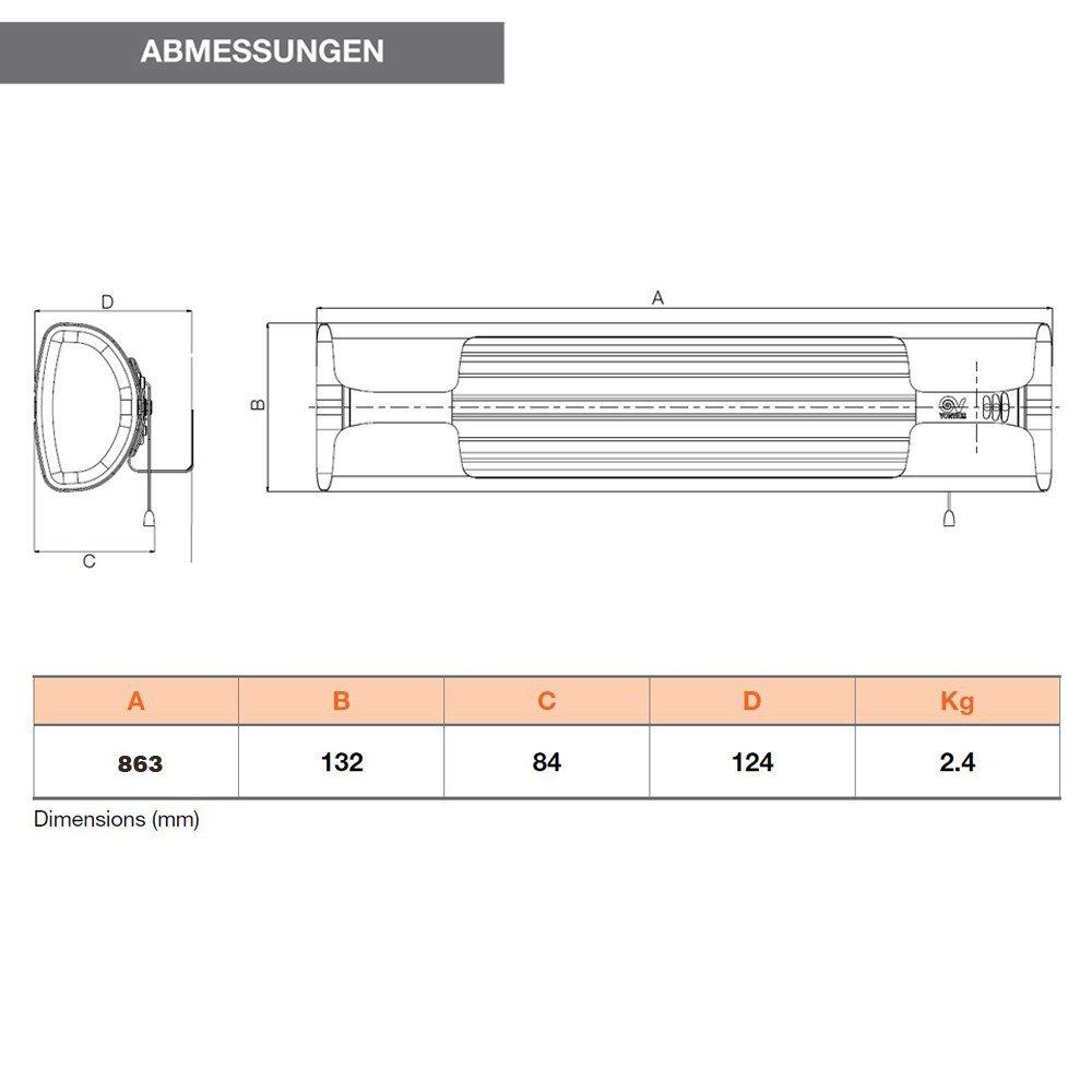 grau Vortice Wand-Heizung Thermologika Design 70004 Gricio 600//1200// 1800 W Infrarot