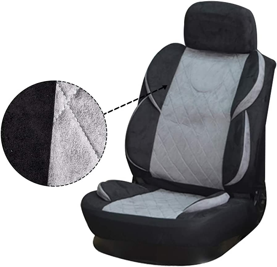 OCPTY Car Seat Cover Universal Seat Cushion w//Headrest Cover//Steering Wheel//Shoulder Pads 100/% Breathable Automotive Accessories Durable Semi-PU Leather//Punch Suede for Most Cars Black//Gray