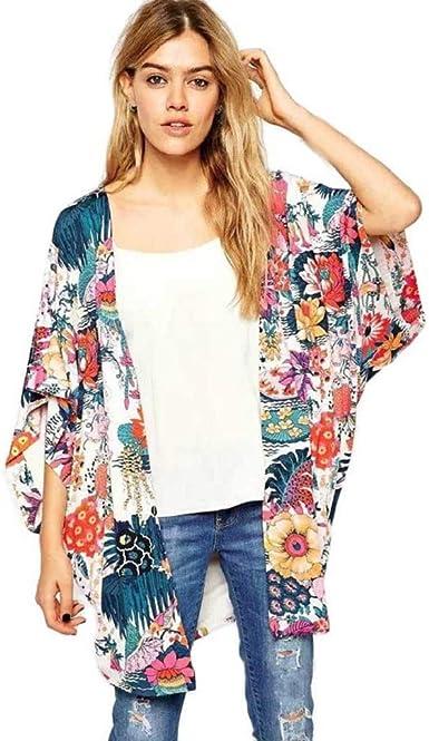 Kimono de Verano, Dragon868 2020 Kimono Japonesa para Mujer Floral Abierto Casual Capa Suelto Blusa Kimono Cárdigan Chaqueta Bikini Playa Cubrir Blusa Ropa de Camisolas y Pareos, S-XL: Amazon.es: Ropa y accesorios