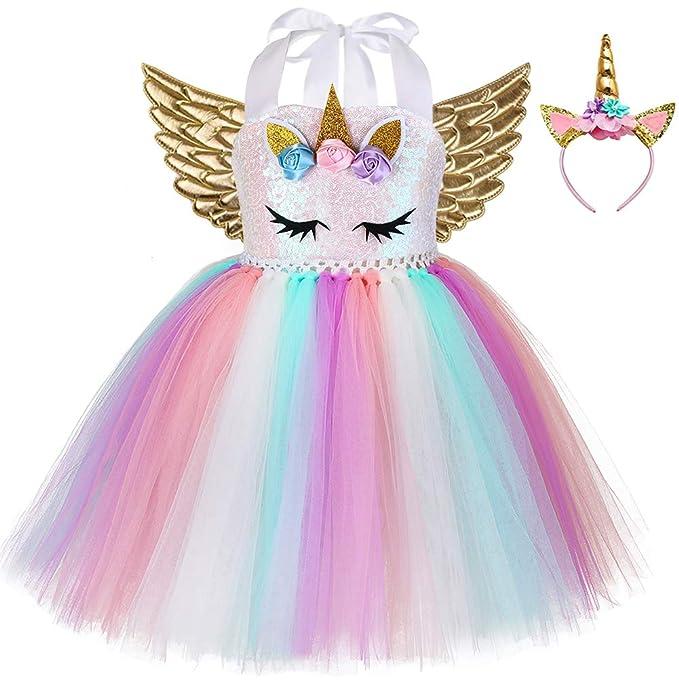Amazon.com: Disfraz de unicornio de cumpleaños para niñas ...