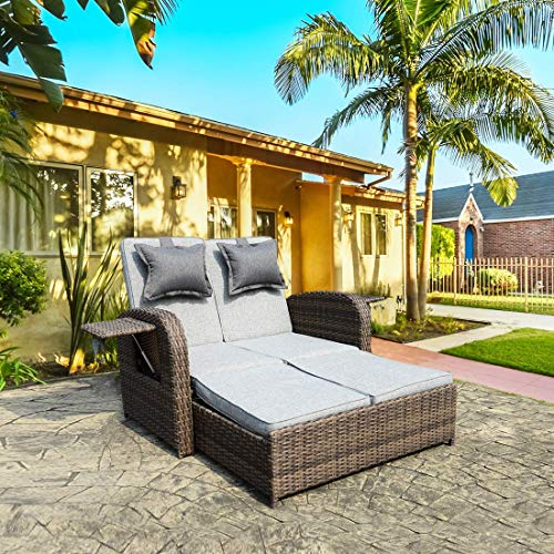 Rattan Set Bed - THPLUS 2 Piece Set Outdoor Rattan Wicker Chaise Lounge Bed Sofa Loveseat with Cushions & Adjustable Pillow