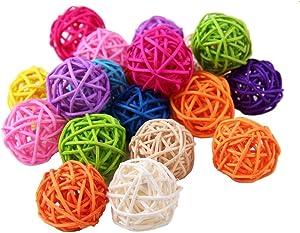 USFEEL 10pcs Handmade Wicker Rattan Balls, Garden, Wedding, Party Decorative Crafts, Vase Fillers, Rabbits, Parrot, Bird Toys (5CM, Mixed Colors)