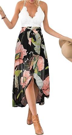 Drasawee Womens V Neck Empire Waist Printed Chiffon Bridesmaid Long Evening Gowns