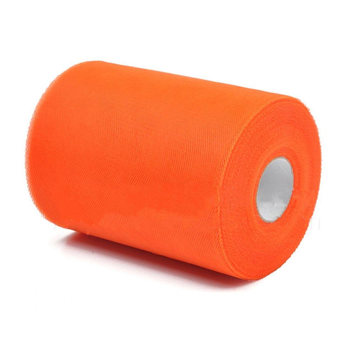 SODIAL(R) Soft 6x100yd Tulle Roll Spool Wedding Craft Bridal Wrap Party Decor 6x300' New Orange SPAGT45770